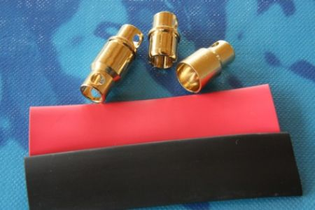 8 mm Goldkontaktstecker, 2 Paar